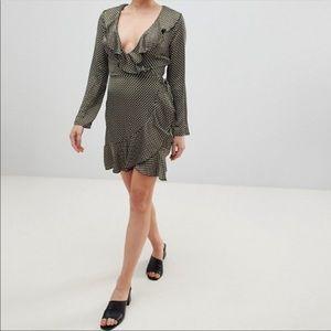NEW ASOS Parisian Ruffle Polka Dot Wrap Dress